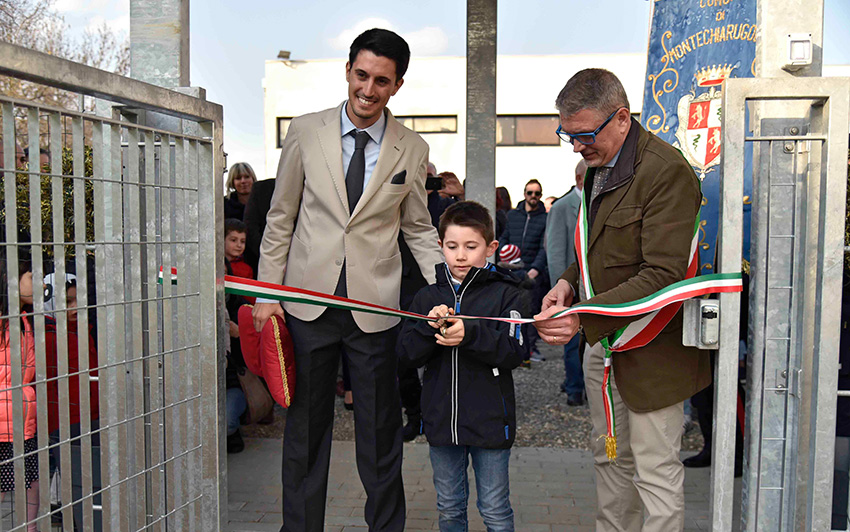 Daniele Friggeri durante l'inaugurazione scuola dell'infanzia Montechiarugolo realizzata da Bucci Spa